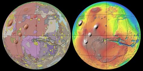 This new global geologic map of Mars depicts the most thorough representation of the Red Planet surface. This map provides a framework for continued scientific investigation of Mars as the long-range target for human space exploration. Credit: USGS