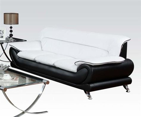 Stupendous Orel Contemporary White Black Bonded Leather Wood Sofa Pdpeps Interior Chair Design Pdpepsorg