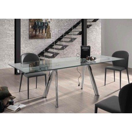 Dormitorio Muebles modernos: Mesa cristal extensible comedor