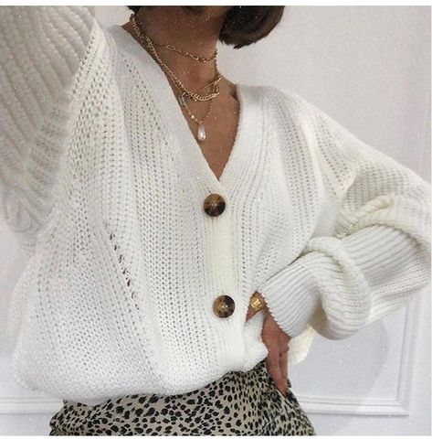 Oversized Knitted Cardigan - White / S