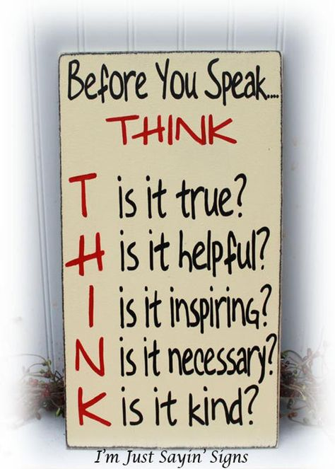 Before You Speak Think Sign Wood Sign | Etsy