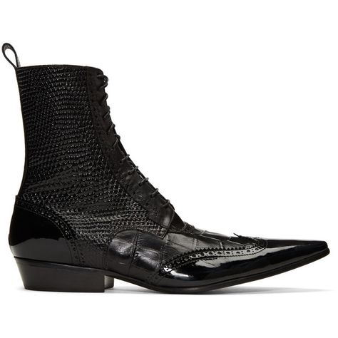 a5853c995 Haider Ackermann Black Brogue Boots ($1,375) ❤ liked on Polyvore featuring  men's fashion,