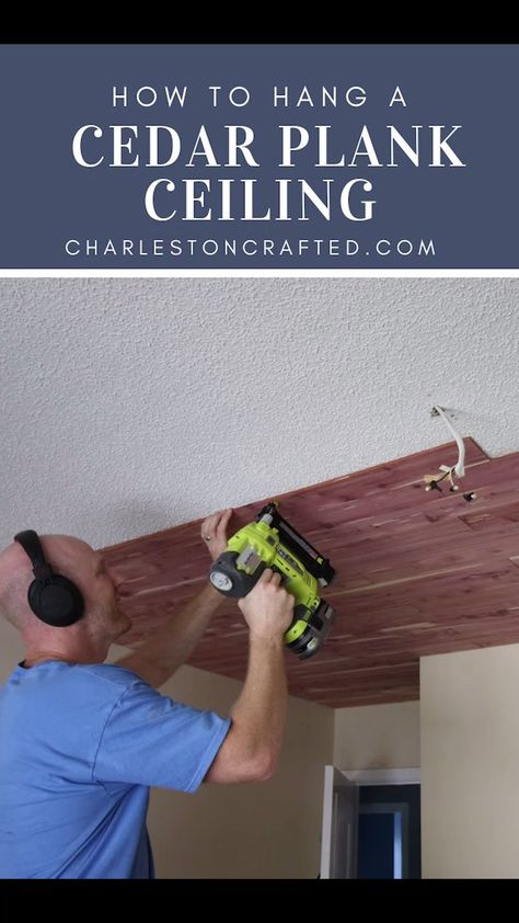 We installed a tongue and groove cedar plank ceiling to cover the popcorn ceilings in our guest bedroom! Here is a step by step guide & how to video!