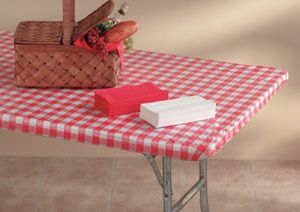 Red Gingham Plastic Tablecloths With Elastic 6 Foot Fitted