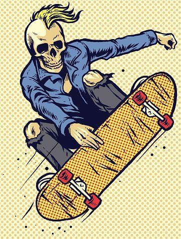 Vector Of Hand Drawing Style Skull Play Skateboarding Arte Del Monopatin Skate Dibujo Skaters Dibujos