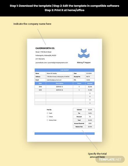 It Cash Receipt Template Free Pdf Word Excel Apple Pages Apple Numbers Receipt Template Templates Document Templates