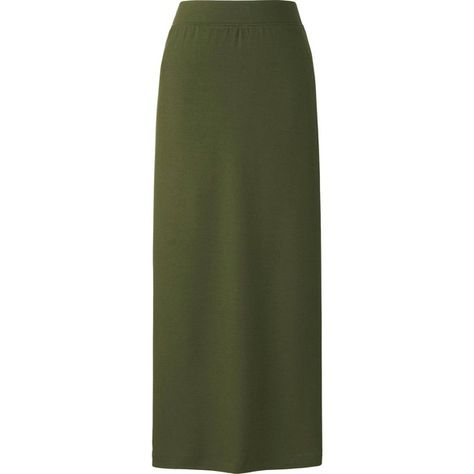 cb54dec12 UNIQLO Long Tube Skirt ($20) ❤ liked on Polyvore featuring skirts, rayon maxi  skirt, long green skirt, uniqlo, tube skirt and ankle length skirt