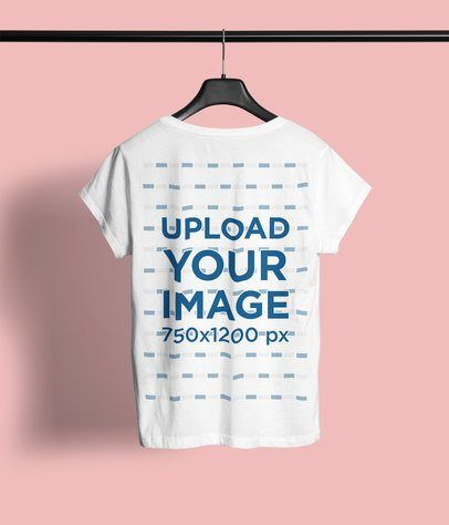 Download Click To Use This Template Back View Mockup Of A Women S T Shirt Hanging Against A Plain Backdrop 4427 El1inspirati Clothing Mockup T Shirts For Women T Shirt