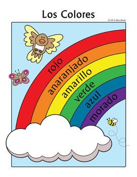 Los Colores Spanish Colors Rainbow Coloring Page Spanish Colors Coloring Pages Rainbow