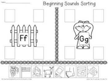 Beginning Sound sorting page