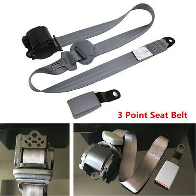 3 Point Retractable Car Safety Seat Belt With Curved Rigid Buckle Universal Gray