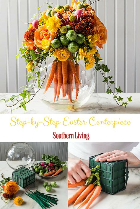 Easter Centerpiece | Mix up traditional floral arrangements with a bouquet of bright carrots at the heart of this more subtle Easter-inspired piece.