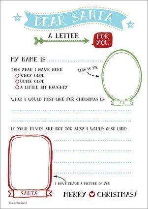 Kids Free Printable Dear Santa Letter Party Craft Idea  Christmas