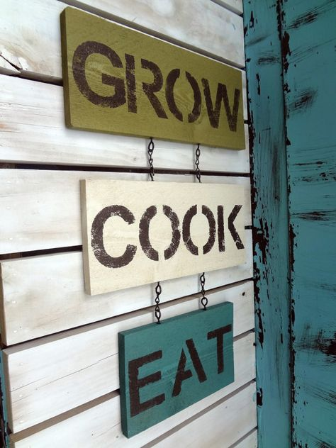 Wall Decor Sign green, teal, and antique white, kitchen decor, shabby chic, rustic, cottage, and country chic style on Etsy, $29.00