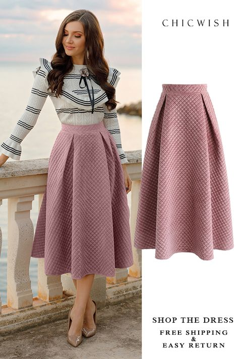 Free Shipping & Easy Return. Up to 30% Off. Fancy Sheen Quilted Velvet Skirt in Pink featured by larisacostea