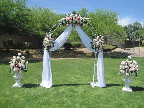 Wedding Arch Ideas   White wrought iron arch, 3 white floral swags, voile drapery, & 2 ...