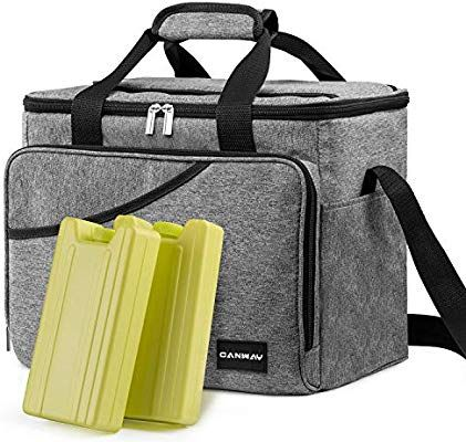 Canway Cooler Bag 40 Can Large Insulated Soft Sided Cooler Bag With 2 Ice Packs For Outdoor Travel Hiking Beach Picn Soft Sided Coolers Hiking Trip Cooler Bag