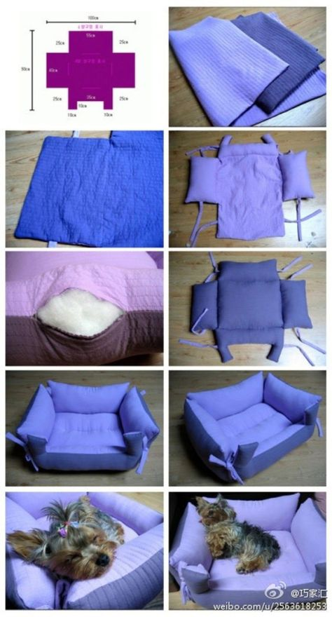 Find Pillow Pet Beds and more for your furbaby. We've included a doggy sweater and a denim jeans pet lap plus the best diy pillow pet beds.The cutest DIY pet bed ideas that are sure to make your favorite fur babies happy. See the best designs for 201 Diy Pour Chien, Diy Dog Bed, Pet Beds Diy, Animal Projects, Animal Pillows, Diy Pillows, Pillow Beds, Pillow Mattress, Bolster Dog Bed