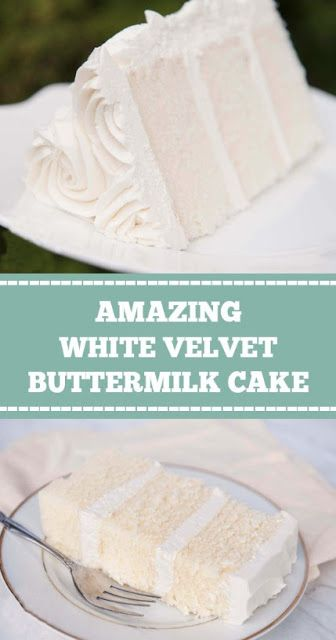 """#WHITE #VELVET #BUTTERMILK #CAKE WHITE VELVET BUTTERMILK CAKE  White velvet cake gets it's flavor and velvety texture from buttermilk. A moist, tender cake that is great for any special occasion. This recipe makes two 8"""" round cakes about 2"""" tall."""