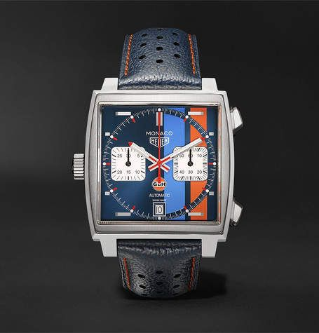 Monaco Gulf Edition Automatic 39mm Steel And Leather Watch Ref