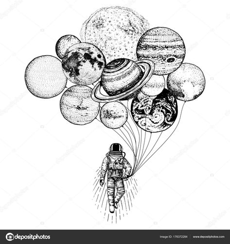 Astronaut spaceman. planets in solar system. astronomical galaxy space.  cosmonaut explore adventure. engraved hand drawn in old sketch. moon and  the sun and ...