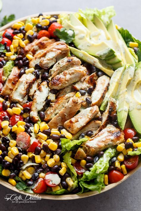 Southwestern Chicken Salad With A Low Fat Creamy Dressing   http://cafedelites.com
