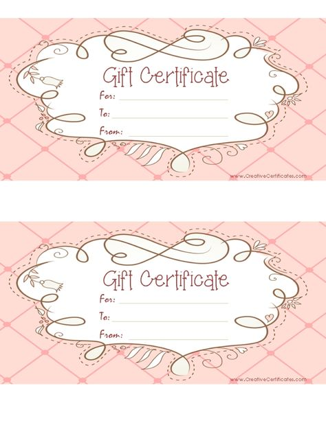 Gift cards are always nice! -Creative Habitat; Tip Top Pottery - gift certificate template pages