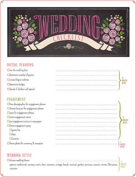Wedding Checklist Timeline Printable Planner PDF