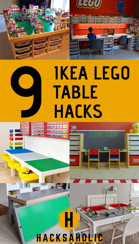 Lego is always really popular with kids and a good Lego table is essential. These Ikea Lego hacks are amazing play spaces that won't cost the earth. Create the perfect Lego table with an Ikea Lego table hack and save money. Lego Play Table, Lego Table Ikea, Lego Table With Storage, Lego Desk, Lego Storage, Storage Ideas, Cool Lego, Awesome Lego, Lego For Kids