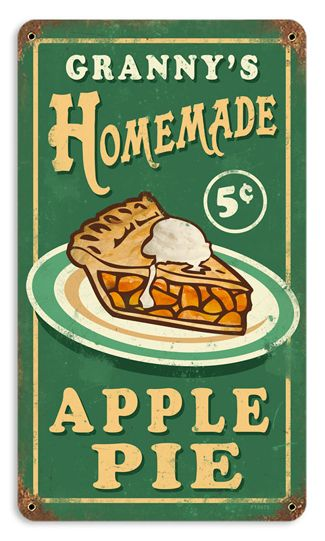 Granny's Apple Pie 8 x 14 Vintage Metal Sign, would look great in my kitchen!  a wall full of vintage signs