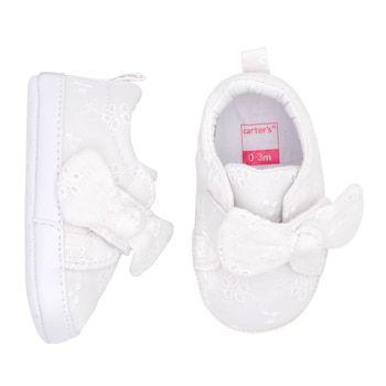 Eyelet Bow Sneaker Crib Shoes