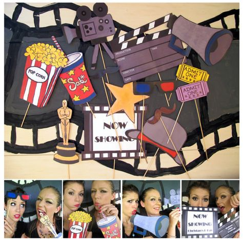 for our next movie party personalized movie photo booth props- perfect for a movie night, oscar bash, hollywood party or cinema birthday - clapper/sign personalized