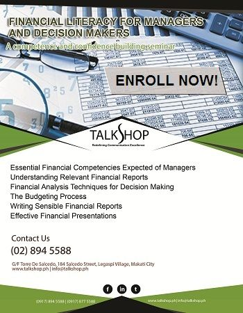 Financial Literacy for Managers and Decision Makers at #TalkShop A - financial analysis report writing