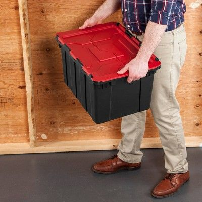 Sterilite 12 Gal Hinged Lid Utility Tote Black Utility Tote Storage Spaces Storage