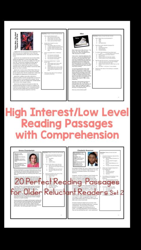 High Interest - Low Level Reading Passages