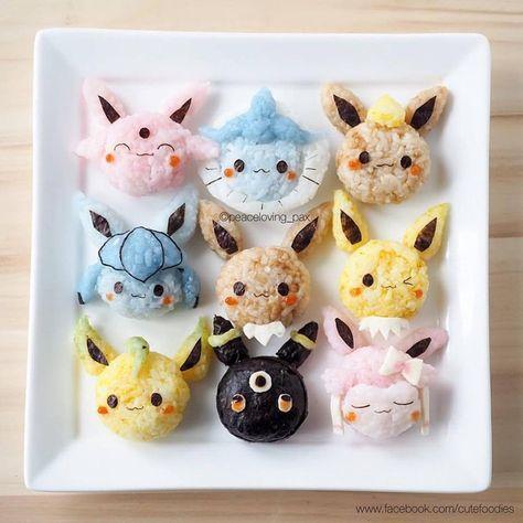Go eat'em all: Care for some Pokemon rice balls? Japanese Food Art, Japanese Snacks, Japanese Sweets, Japanese Rice, Arte Do Sushi, Sushi Art, Kawaii Bento, Charlie Brown Snoopy, Cute Bento Boxes