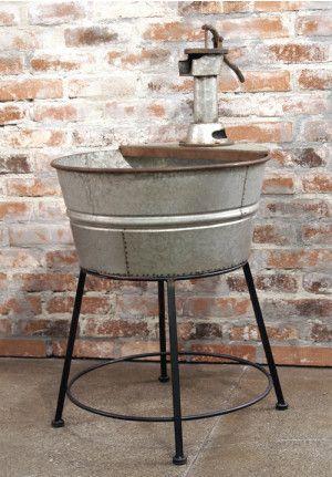 Antique Wash Tub With Stand Galvanized Wash Tub Wash Tubs Hand Pump