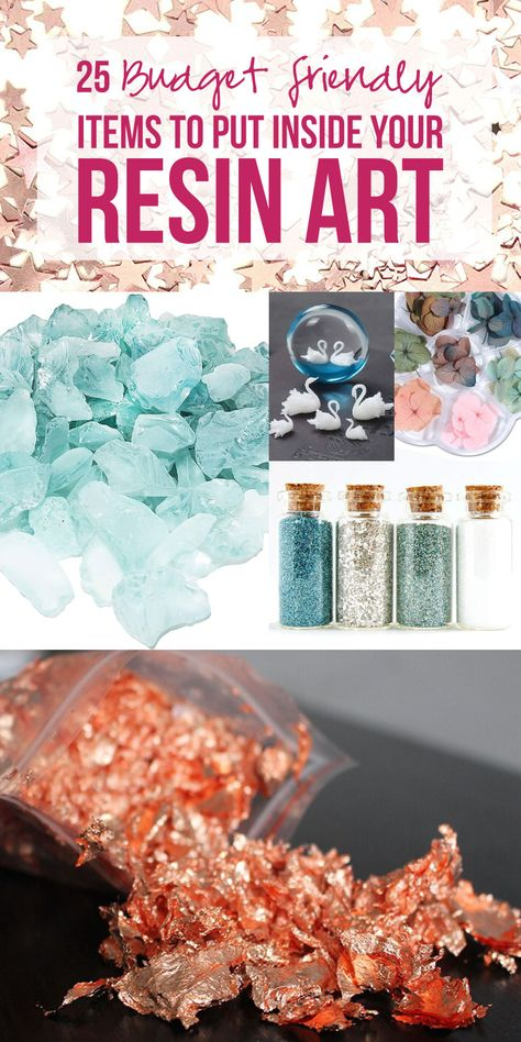 25 Budget Friendly Items to Put Inside your Resin Art - Happily Ever After, Etc. Diy Resin Art, Epoxy Resin Art, Diy Resin Crafts, Diy Crafts To Sell, Resin Pour, Resin Molds, Ice Resin, Silicone Molds, Resin Tutorial