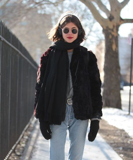 Vintage coat, vintage Levi's jeans, Adidas sneakers, Nike socks, and Ray-Ban glasses. 15 Photos Of NYC Women Looking Winter Chic