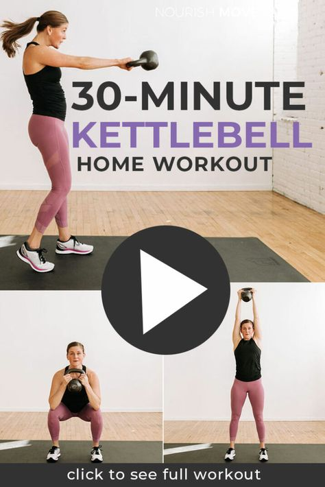 HOME WORKOUT: Kettlebell HIIT! This interval training workout targets the total body with strength training exercises and HIIT cardio burst!