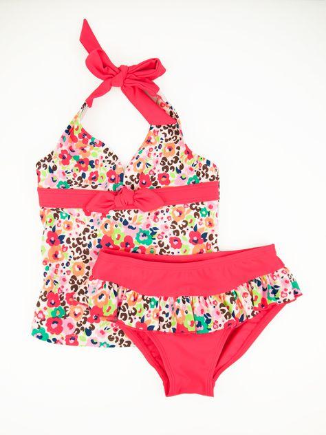 Floatimini Little Girls Watercolor Floral Print Flounce Bikini Set