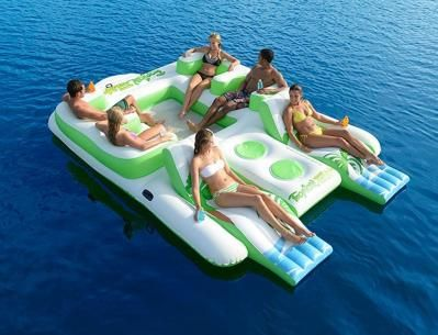 Amazing The Tropical Tahiti Island From Sun Pleasure Is A Versatile And Large  Inflatable Raft For The Lake That Allows People To Lounge Or Party Anywhere  Ou2026