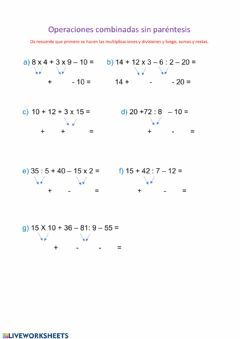 Operaciones Sin Paréntesis Language Spanish Grade Level 5º School Subject Matemáticas Main Content Op Math Addition Worksheets Math Worksheet Math Addition