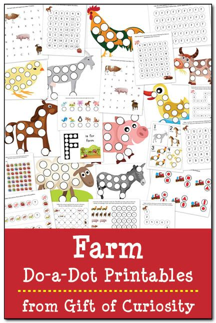 Free Farm Do-a-Dot Printables: 25 farm do-a-dot worksheets to help kids work on one-to-one correspondence, shapes, colors, patterning, letters, and numbers. Great for a toddler or preschool farm unit! | #freeprintable #DoADot #giftofcuriosity #farm || Gift of Curiosity