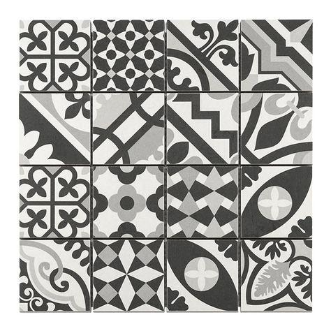 Mosaique Carreaux De Ciment Blanc Noir 7 X 7 Cm Castorama Avec