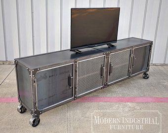 100 In Carnegie Industrial Media Console Industrial Furniture Tv Stand Cabinet Vintage Entertainment Center Audio Idees De Meubles Industriel Et Moderne Mobilier De Salon