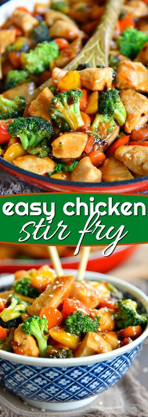 This easyChicken Stir Fry recipe is loaded with fresh veggies and the most delicious sauce made with honey, soy sauce, and toasted sesame oil! This healthy recipe takes 20 minutes to make and will wow your family with it's amazing flavor! // Mom On Timeout #dinner #entree #maindish #chicken #veggies #vegetables #stirfry #easy #quick #recipe #recipes #momontimeout #ad