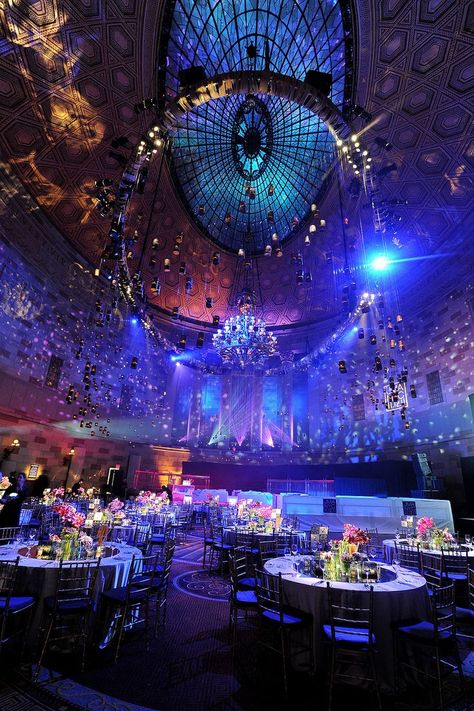 Gotham Hall bathed in an electric orchestra of light. — i wanna get married hereeeeee wedding hall decorations