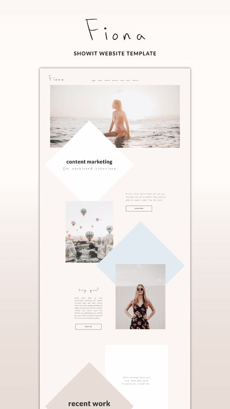 Showit Website Template Fiona for the minimalist professional