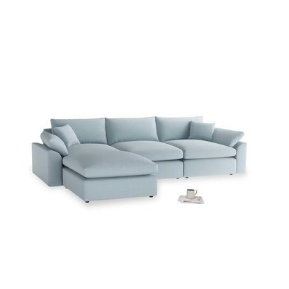 Modular Chaise Sofa In Soothing Blue